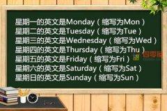 星期一到星期日的英文「知识」